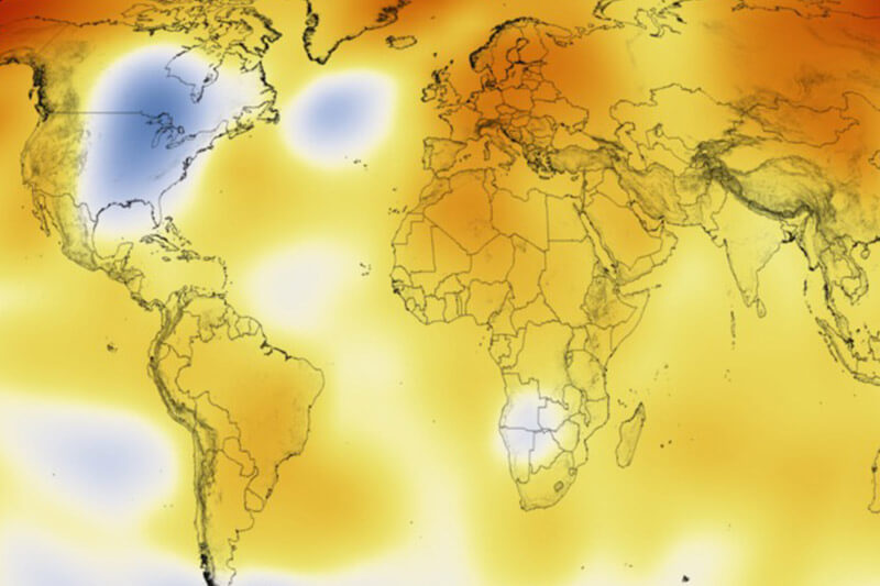 Mapa calentamiento global NASA Futuro Verde