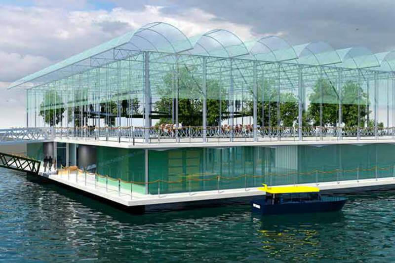 La la primera granja flotante del mundo, Floating Farm, se construye en el puerto de Róterdam, Holanda, con el apoyo de distintas empresas internacionales.