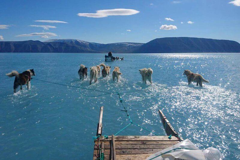 Aunque Groenlandia esuna gran isla llena de mucho hielo, es muy raro que se pierda tanto hielo a mediados de junio, lo que podría significar una mala señal.