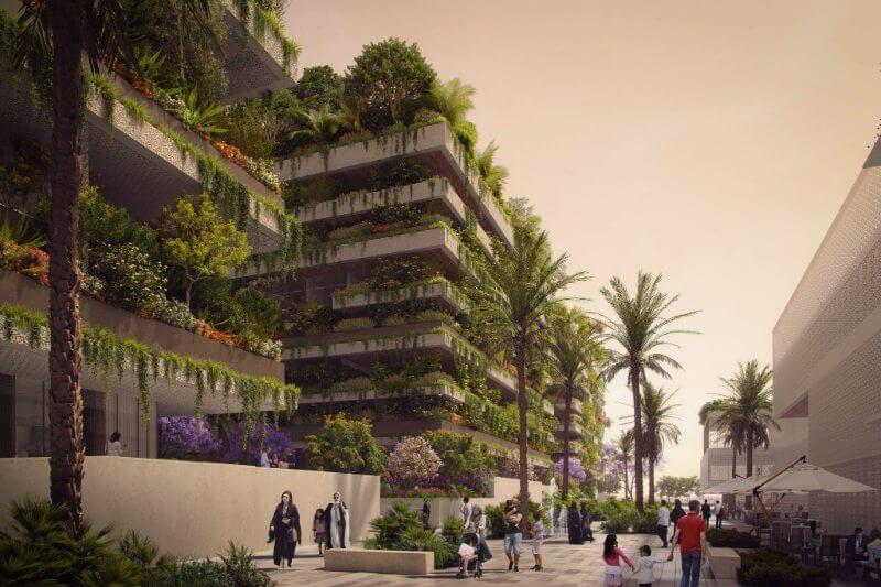 Tres edificios cubiertos con árboles y plantas ayudarán a absorber la contaminación de la nueva capital administrativa de Egipto.