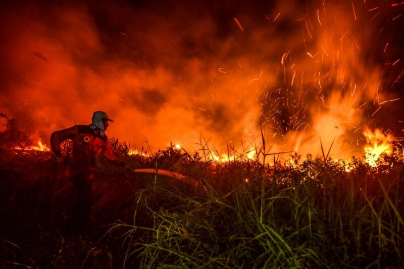 La nube de humo provocada por los devastadores incendios desde hace semanas han empeorado la calidad del aire en la isla de Sumatra.