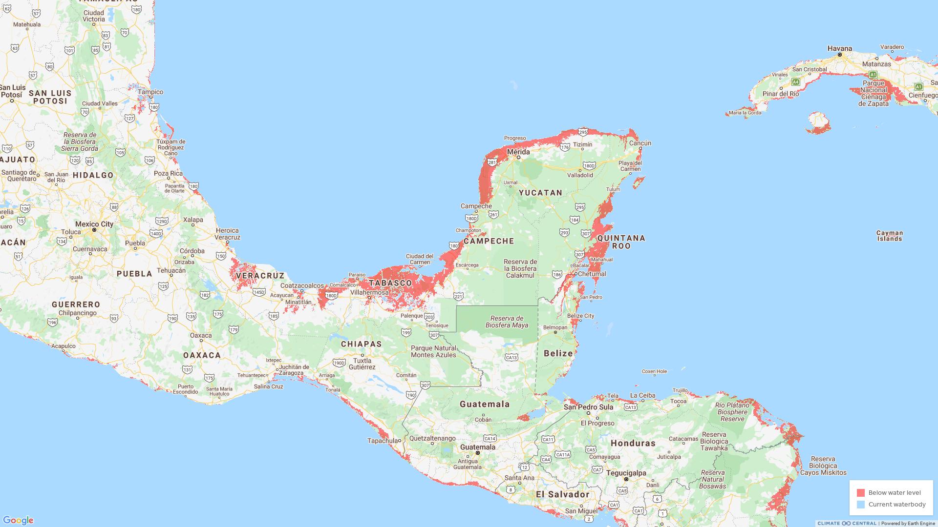Zonas de México más afectadas por escenarios de marea alta - Mapa por Climate Central