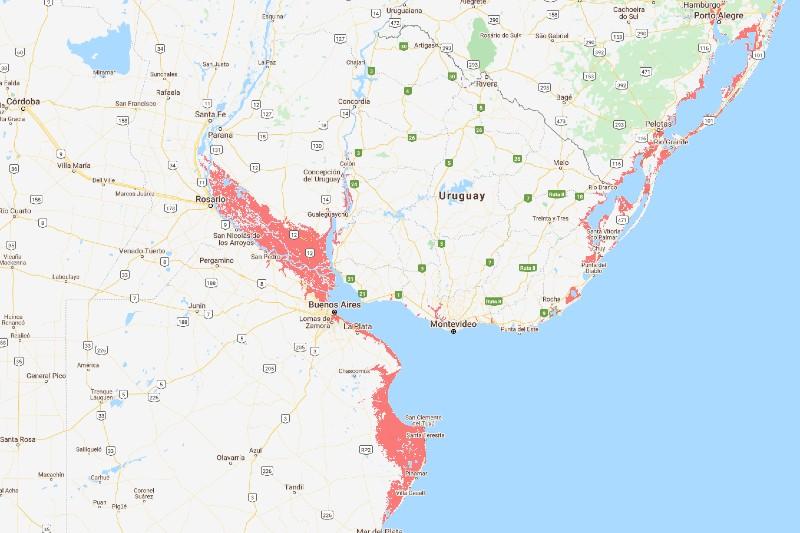 Zonas afectadas por inundaciones para 2050