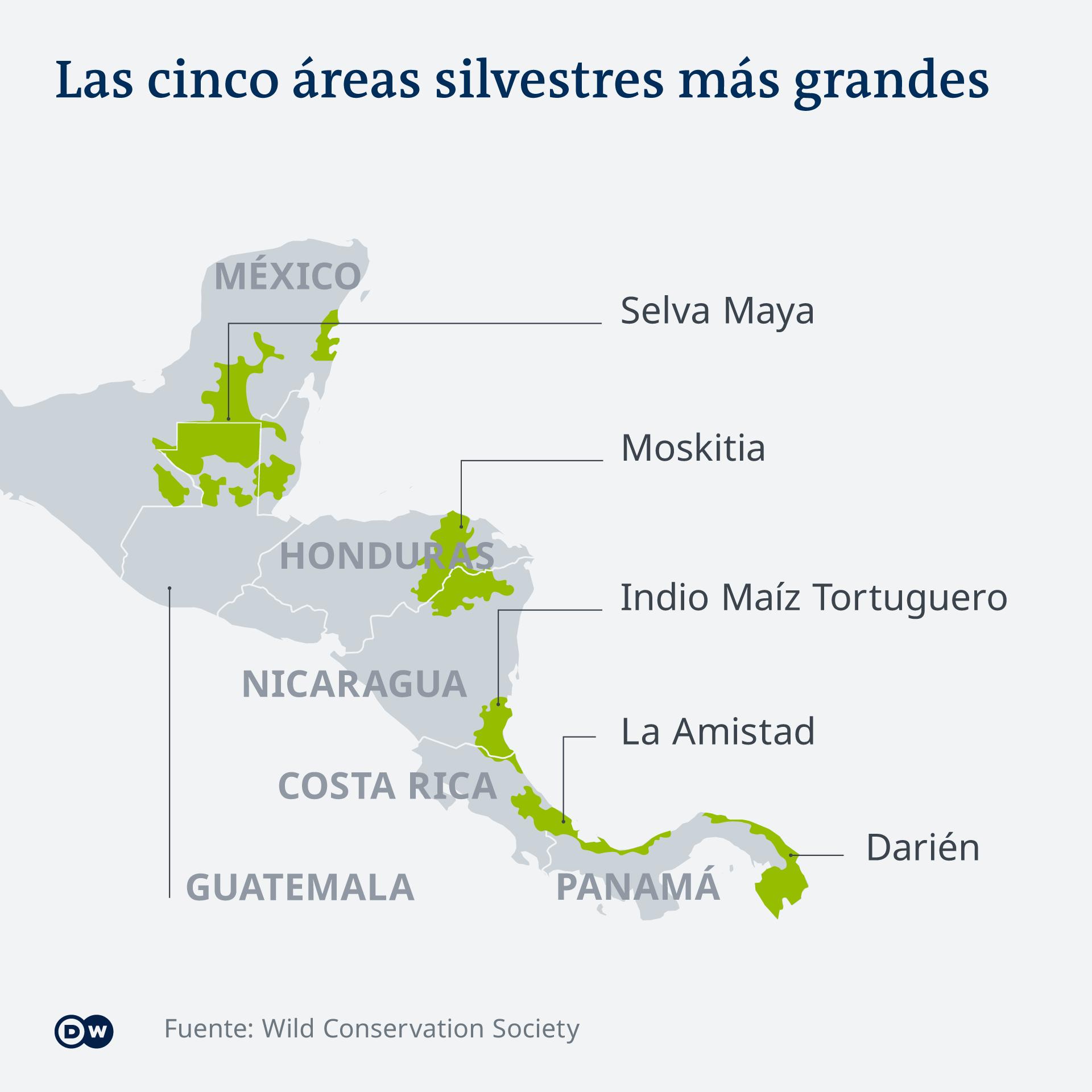 Áreas silvestres más grandes de Mesoamérica - Gráfica DW/WCS