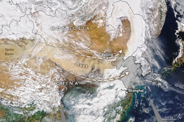 Mapa de ola de polvo en Asia - NASA