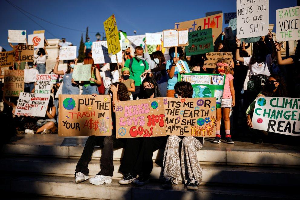 Huelga climática en Atenas, Grecia - Foto Alkis Konstantinidis/Reuters