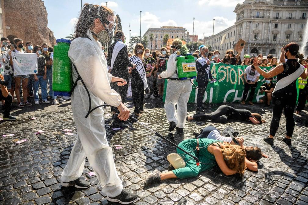 Protesta climática en Roma, Italia - Foto Masiello/Getty